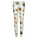 White Emoji and Leaf Print Fitted Skinny Leggings