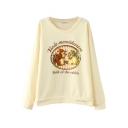 Rabbit&Flower&Letter Print Sweatshirt