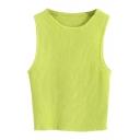 Macaron Color Plain Style Knitting Vest