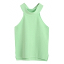 Round Neck Sleeveless Crop Plain Sexy Style Knitting Top