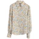 Chrysanthemum Polka Dot Print Long Sleeve Chiffon Shirt