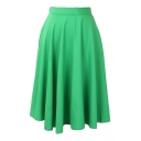 Plain Elastic Waist Pleated Midi Chiffon Skirt