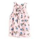 Floral Print Bow Knot Sleeveless Chiffon Top with Back Split