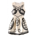 Threads Flower Embroidered Beige A-line Tanks Dress