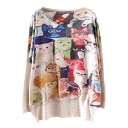 All Over Colorful Cats Print Loose Sweater