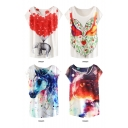 Animal Painting Batwing Sleeve Round Neck T-Shirt