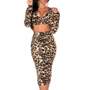 Leopard Print V-Neck Open Waist Long Sleeve Pencil Dress