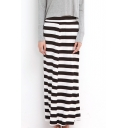 Thick Stripes Print Modal High Waist Tube Maxi Skirt
