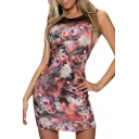 Lace Insert Rose Print Fitted Bodycon Dress