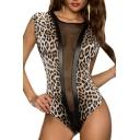 Sheer Net Insert Sleeveless Leopard Insert PU Panel Bodysuit