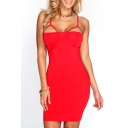 Plain Strap Detail Open Back Fitted Bodycon Dress