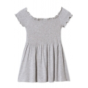 Scalloped Trim Boat Neck Elastic Gray Mini Dress