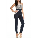 Lace Crochet Round Neck Sleeveless Color Block Zip Back Jumpsuit