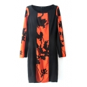 Round Neck Color Insert Style Flower Print Long Sleeve Dress