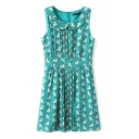 Sleeveless Lapel Cute Style Lion Print Babydoll Dress