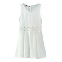White Tanks Dress with Waist Lace Inset