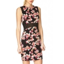 Floral Print Mesh Inserted Waist Sleeveless Dress