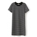 Stripe Print Short Sleeve Fitted Shift Dress