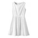 White Plain Sleeveless Lace Penal Tank Dress