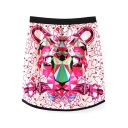 Tiger Head Print Colorful Elastic Waist Pencil Skirt