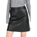 Black Plain PU Zipper Back Skirt