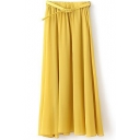 Yellow Plain Chiffon Belted Maxi Skirt