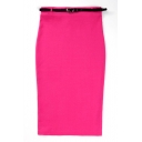 Fuchsia Plain High Waist Belted Pencil Midi Skirt