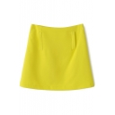 Yellow Plain Fake Pockets Zippered Flare Skirt