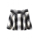 Mono Plaid Woolen Pleated Full Skirt