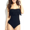 Black Plain Halter Tassel One Piece Swimmer