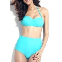 Blue Plain Adjustable Straps Tie Back High Waist Bikini Set