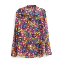 Fashion Colorful Flower Print Chiffon Shirt