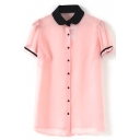 Pink Short Sleeve Single Breast Chiffon Blouse