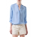 Blue Long Sleeve Stand-Up Collar Blouse