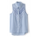 Blue Lace Crochet Sleeveless Single Breast Chiffon Blouse