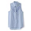 Blue Lace Crochet Sleeveless Single Breast Chiffon Blouse