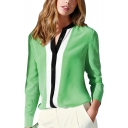 Green Long Sleeve Color Block Stand Up Collar Chiffon Blouse