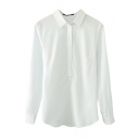 White Plain Long Sleeve Point Collar Shirt