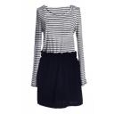 Stripe Print Long Sleeve Gathered Waist Dress