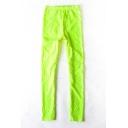 Light  Green Elastic Waist Floral Pattern Leggings