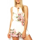 White Round Neck Cutout Front Floral Print Rompers