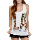 White Scoop Neck LA Floral Print Tank