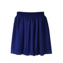Plain Elastic Pleated Chiffon Skirt