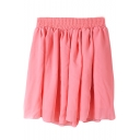 Watermelon Elastic Waist Pleated Chiffon Skirt