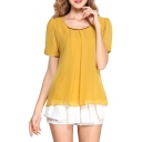 Yellow Short Sleeve Pleated Front Chiffon Blouse