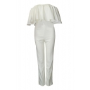 White Off-the-Shoulder Ruffle Layer Jumpsuit