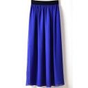 Blue Elastic Waist Chiffon Maxi Skirt