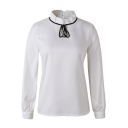 White Stand Collar Black Drawstring Neck Blouse