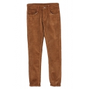 Tan Plain Tweed Zipper Fly Pockets Pencil Pants