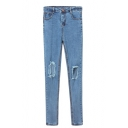 Light  Wash Open Knees Stitch Detail Pencil Jeans